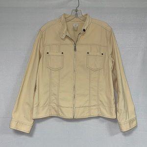 J Jill Women's Beige Corduroy Zip Jacket L
